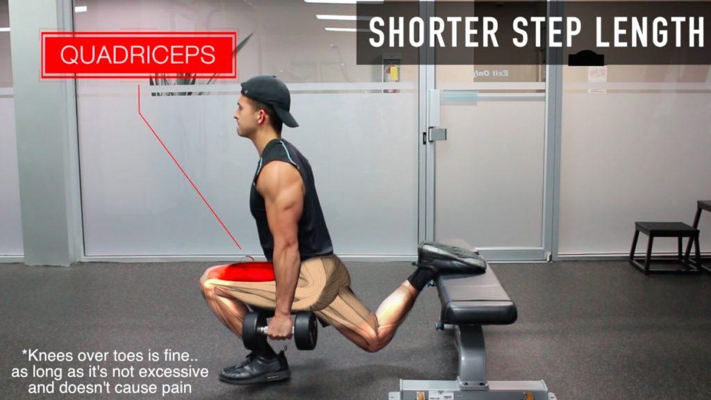 bulgarian split squat shorter step