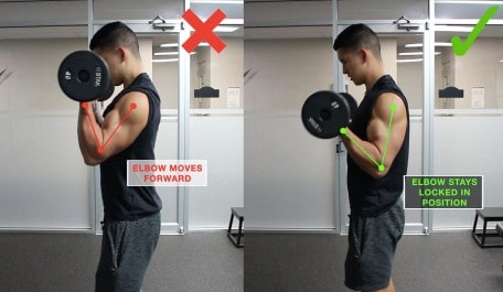 elbow mistakes for biceps