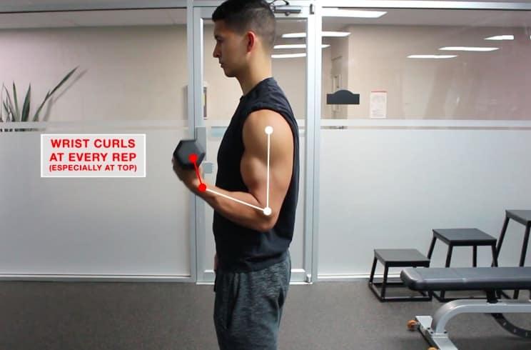 biceps curl wrist mistake
