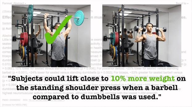 dumbbell vs barbell shoulder press