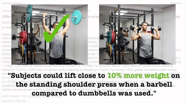 dumbbell vs barbell shoulder press