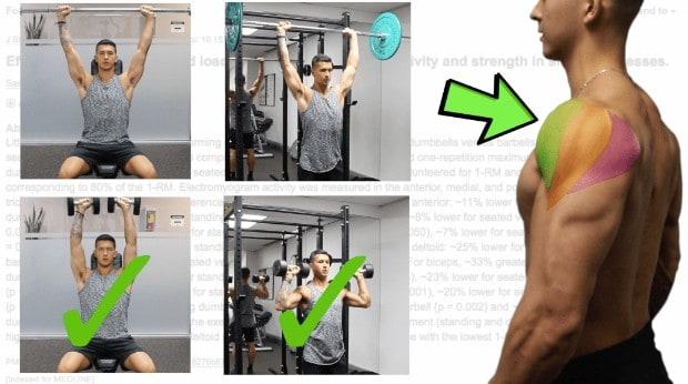 shoulder press activation barbell vs dumbbell