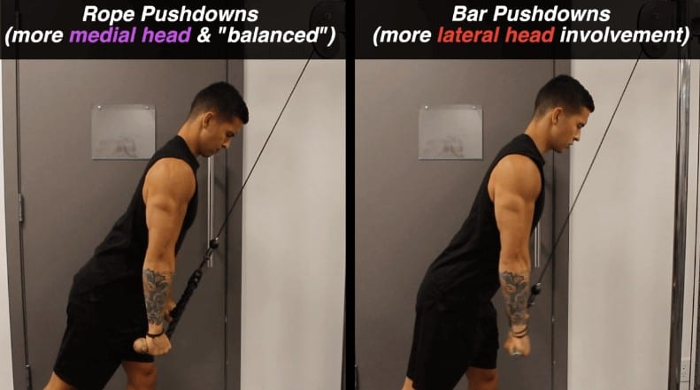 cable tricep pushdowns/extensions vs rope pushdowns/extensions