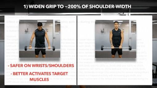 barbell upright row grip width
