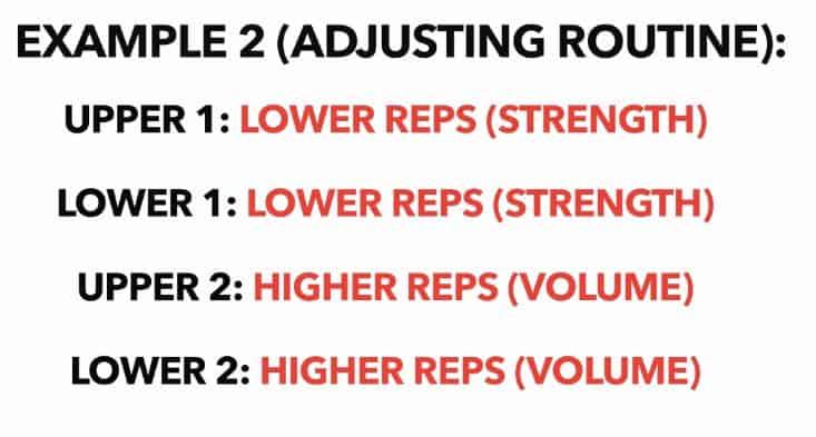 upper lower split rep ranges