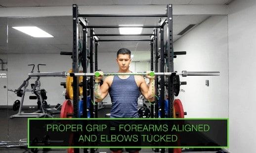 shoulder press proper grip