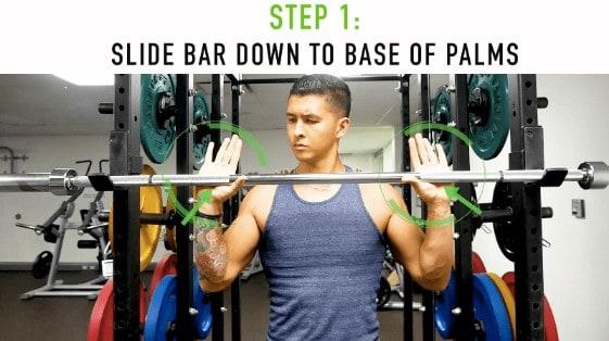 proper overhead press grip step 1