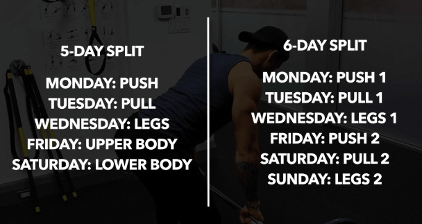5 day workout split and 6 day workout split examples