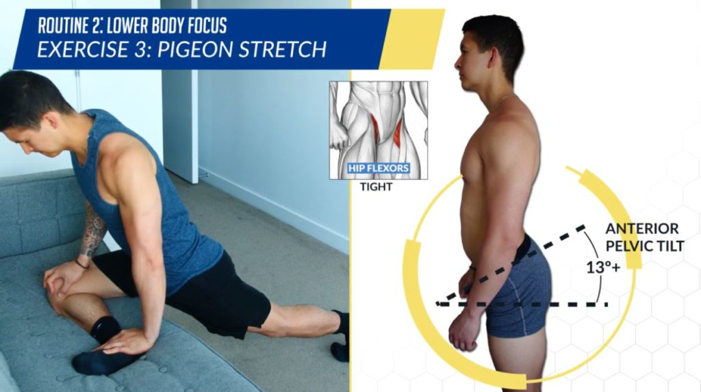 Posture correction routine exercise pigeon stretch