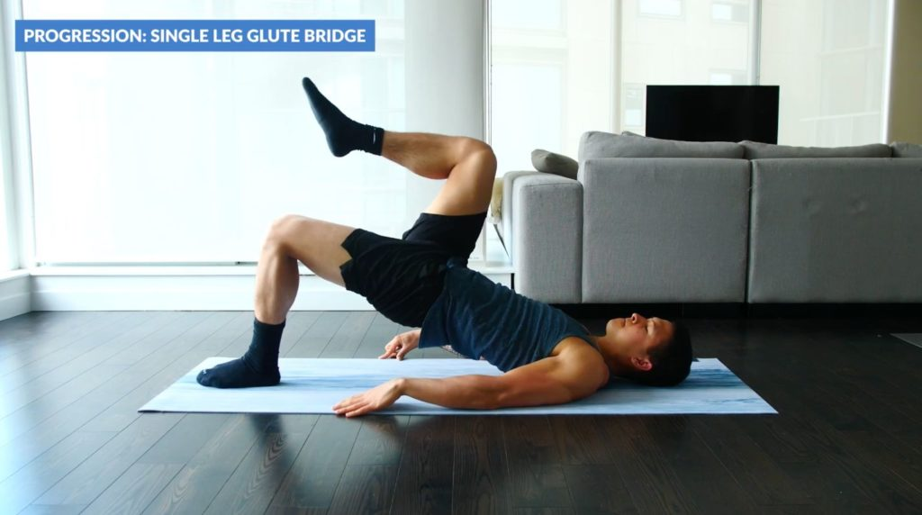 Single leg glute bridges
