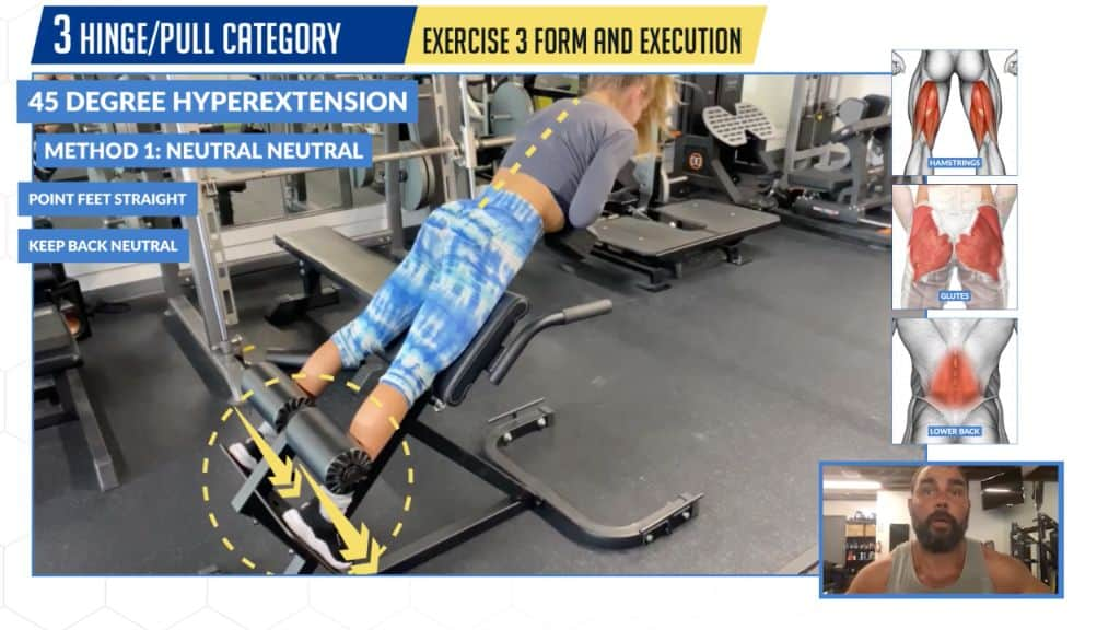How to perform the 45 degree hyperextension with neutral spine