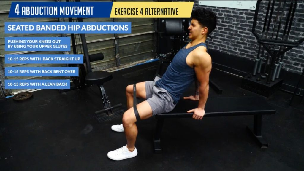 Seated banded hip abductions