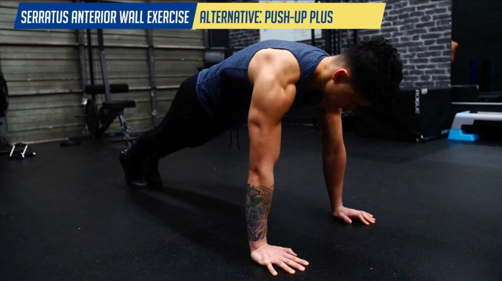 Serratus anterior wall exercise alternative push up plus