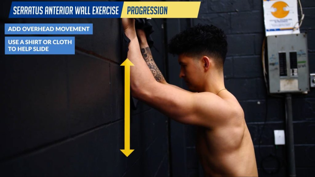 Serratus anterior wall exercise progression