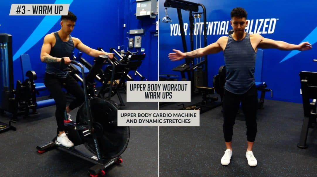 Suitable warm ups for the upper body includes upper body cardio machine and dynamic stretches