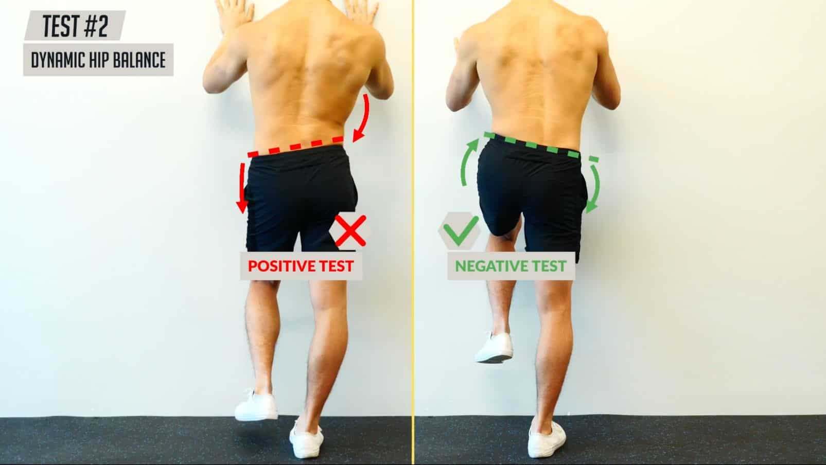 Uneven hips test dynamic hip balance