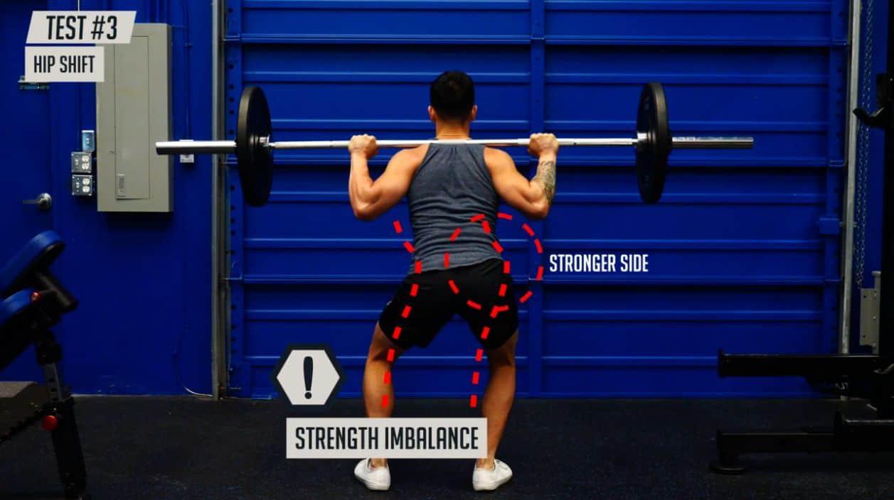 Uneven hips test hip shift