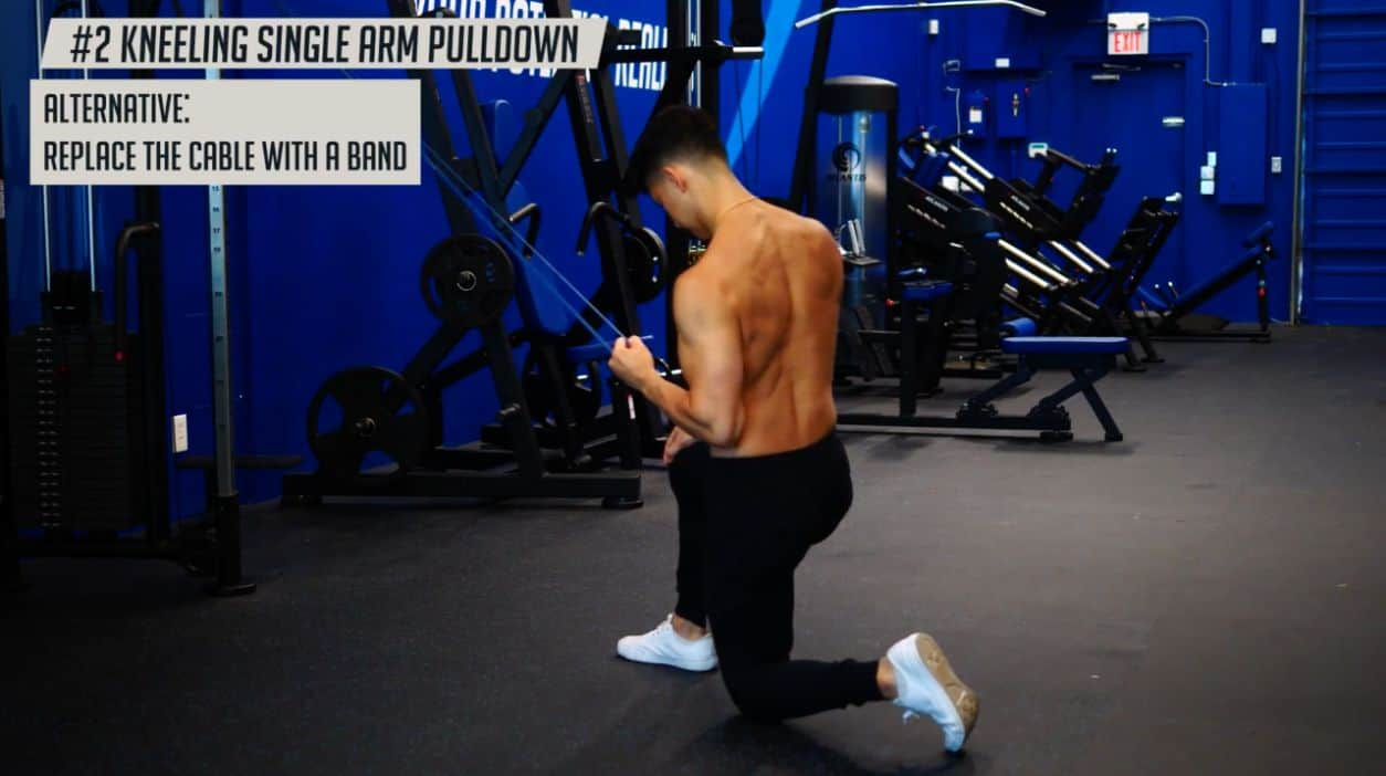 A good alternative for the kneeling single arm pulldown is to replace the cable with a band