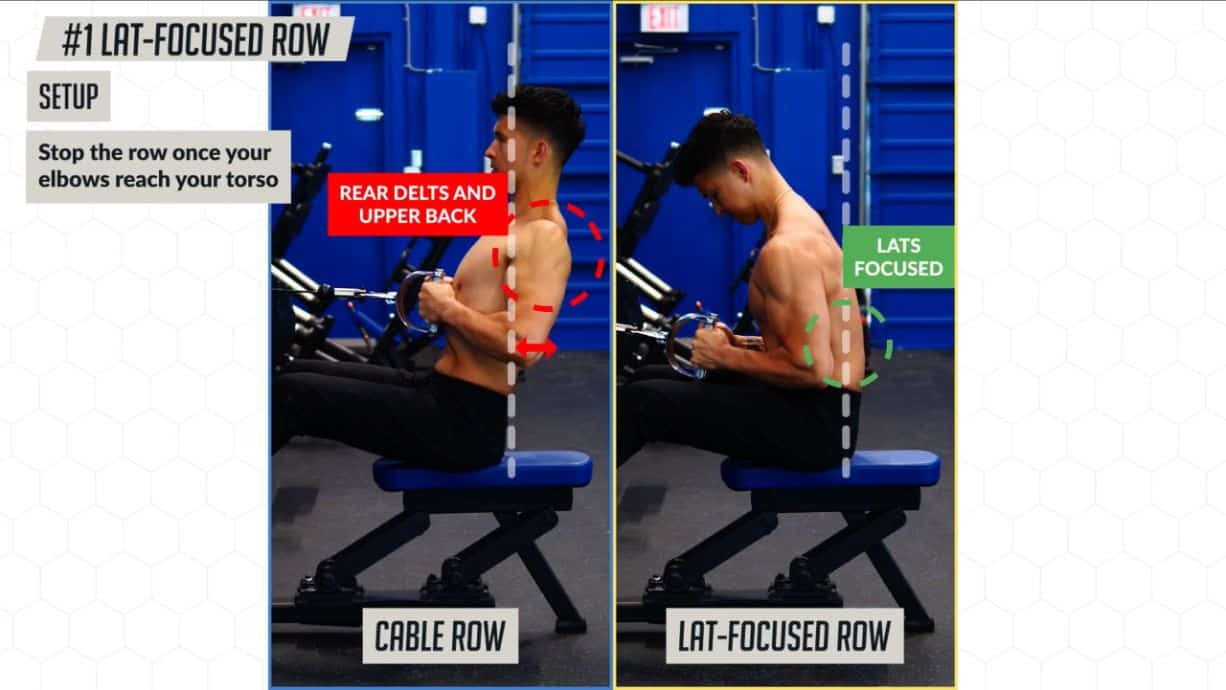 Elbow positioning on one of the best lats exercises the lat-focused row