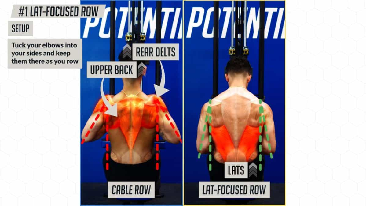 How to set up the lat-focused row