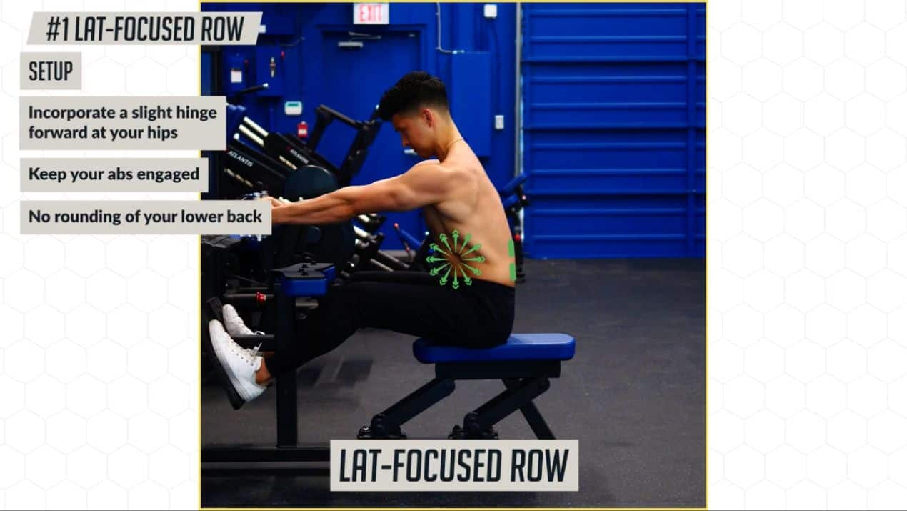 Make sure not to round your back on the lat-focused row