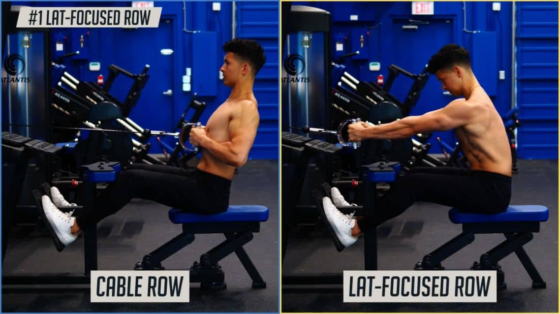 Normal cable row vs a lat-focused row