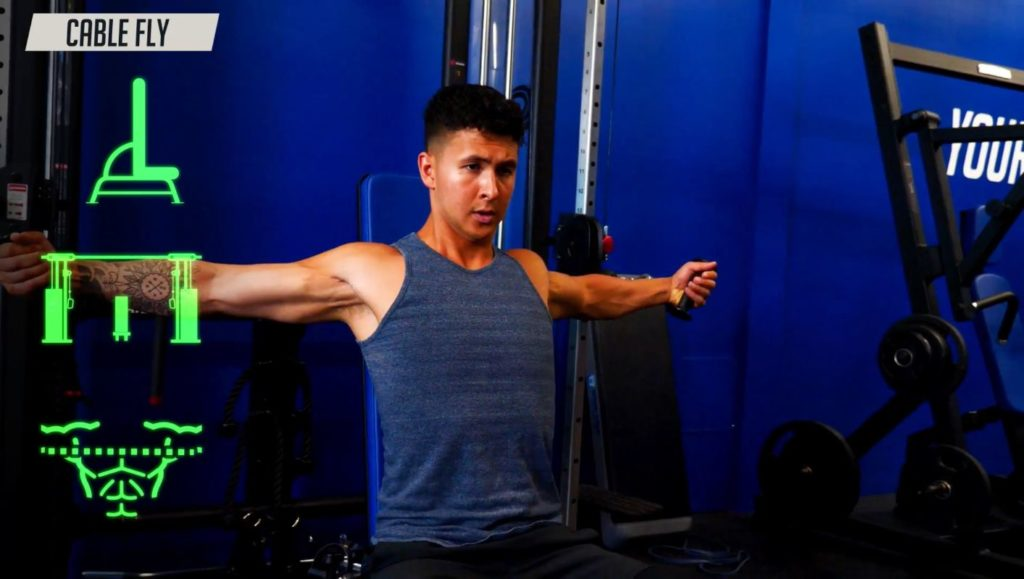 One of the best chest exercises to do is the cable fly as it places constant tension on your chest