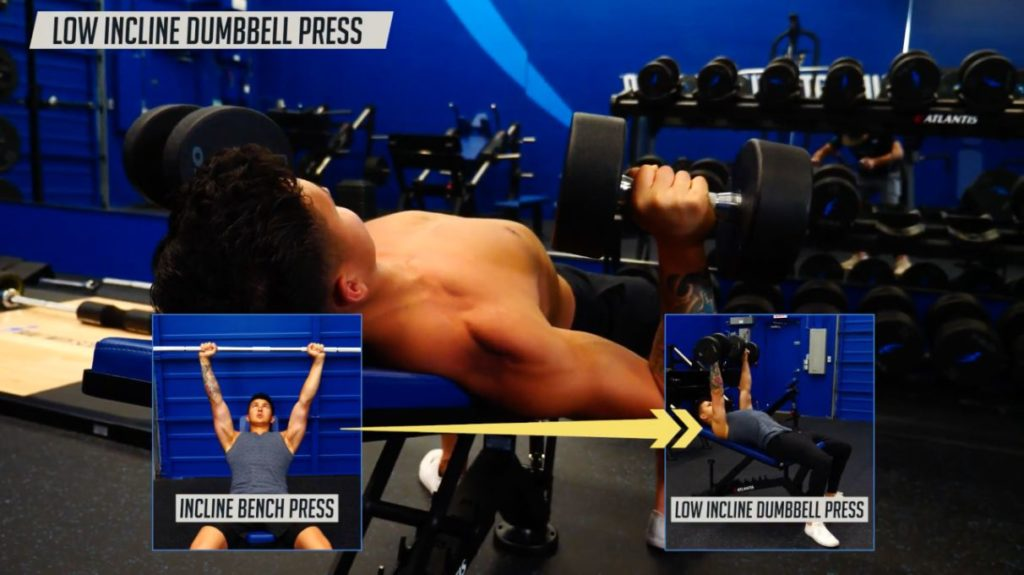 Swap the incline bench press for incline dumbbell press
