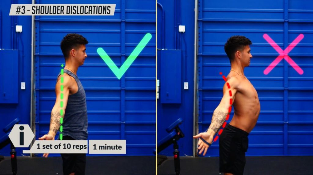 How to perform the shoulder dislocations correctly to straighten your back