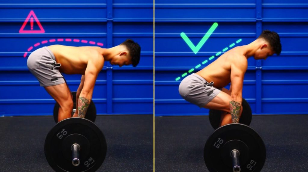 Maintain a neutral back as you deadlift in your butt workout